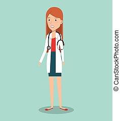 professionelle frau, avatar, doktor