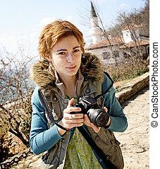 professionelle frau, fotograf