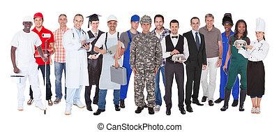 professioner, forskellige, fuld længde, folk