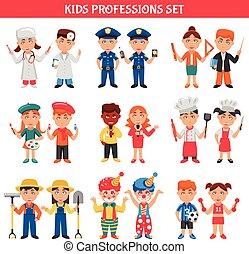 professioni, bambini, set