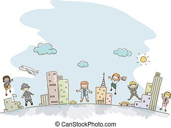 professioni, bambini, stickman
