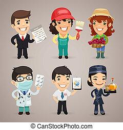 professioni, cartone animato, caratteri, set1.4