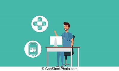professionnel, animation, caractère, bureau, docteur