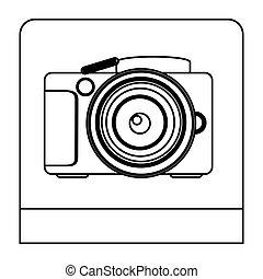 professionnel, appareil photo, studio, figure, icône