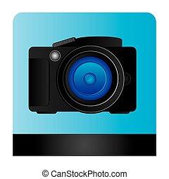 professionnel, appareil photo, studio, icône