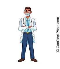 professionnel, avatar, icône, docteur, caractère