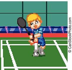 professionnel, badminton, joueur