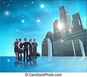 professionnel, bleu, illustr, équipe, ville