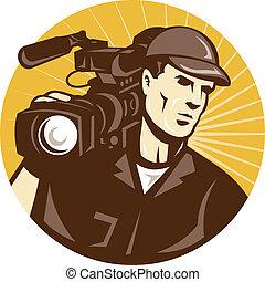 professionnel, cameraman, équipede tournage