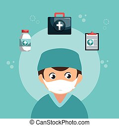 professionnel, caractère, avatar, healthcare
