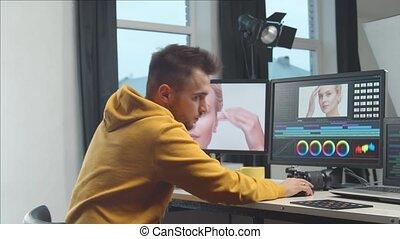 professionnel, console., édition, videographer, colorist, ...