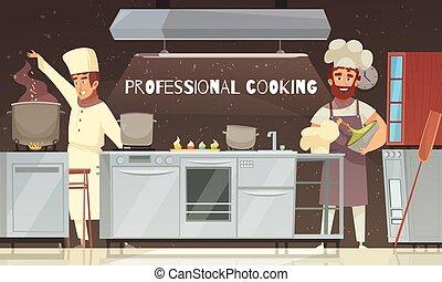 professionnel, cuisine, illustration, restaurant