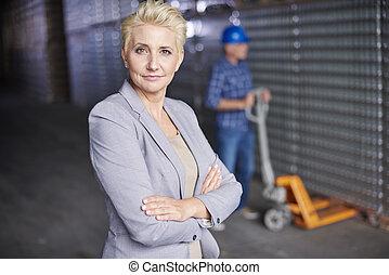 professionnel, directeur, à, les, entrepôt