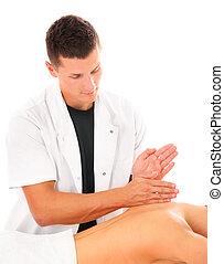 professionnel, dos, masage