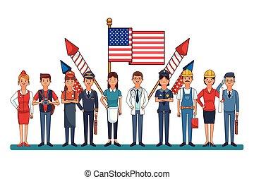 professionnel, drapeau, ouvrier