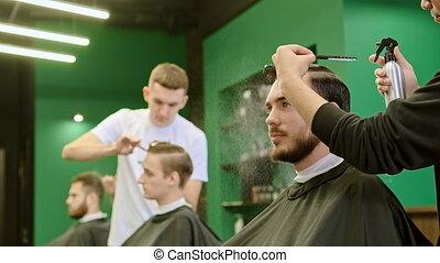 professionnel, eau, peignes, pulvérisation, coiffeur, ...