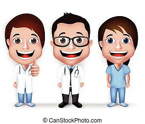 professionnel, ensemble, caractère, docteur