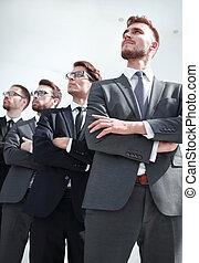 professionnel, espace, copie, groupe, employés, regarder, compagnie