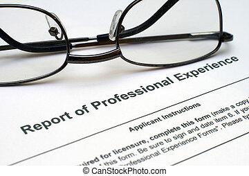 professionnel, expérience, formulaire