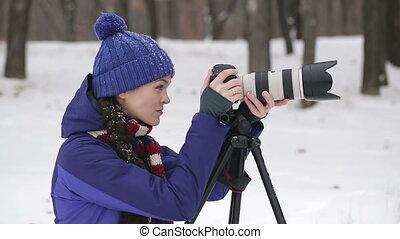 professionnel, extérieur, hiver, photographe