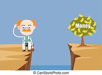 professionnel, fin, monde médical, -, pensée, comment, docteur, usine argent, portée