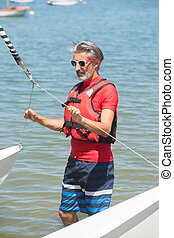 professionnel, formation, waterman, catamaran, lac
