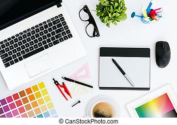 professionnel, graphique, créatif, concepteur, bureau