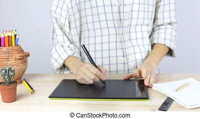 professionnel, graphiques, femme, tablette, mains