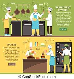 professionnel, horizontal, cuisine, bannières