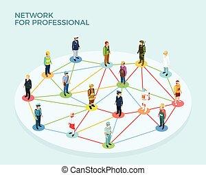 professionnel, isométrique, concept, réseau