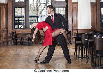 professionnel, mâle femelle, tango, danseurs, exécuter,...
