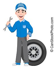 professionnel, mécaniquede l'auto, uniforme
