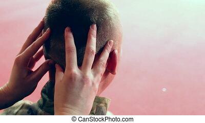 professionnel, massage tête