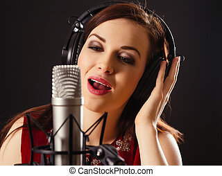 professionnel, microphone, chant