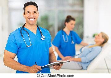 professionnel, monde médical, âge, mi