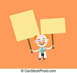professionnel, monde médical, plaquettes, -, deux, tenant mains, docteur