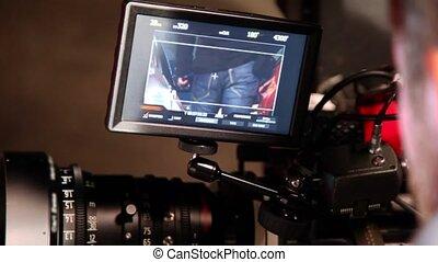 professionnel, montré, appareil photo, vidéo, exposer