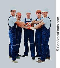 professionnel, ouvriers, construction, groupe