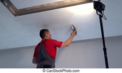 professionnel, plafond, plâtre, constructeur, truelle