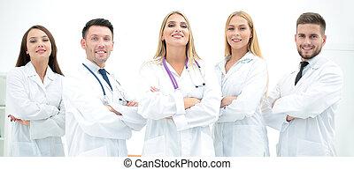 professionnel, portrait, équipe, monde médical, groupe