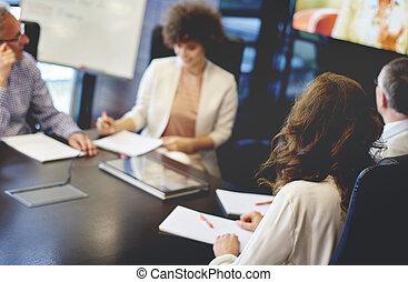 professionnel, réunion, collègues, bureau, avoir