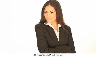 professionnel, sourire, femme affaires