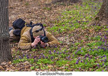 professionnel, tir, herbe, photographe