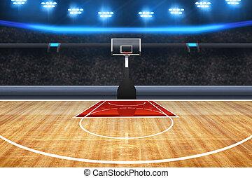 professionnel, tribunal, basket-ball, fond, arène