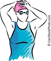 professionnel, vecteur, illustration, nageur