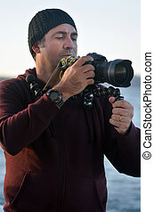 professionnel, voyage, emplacement, et, nature, photographe