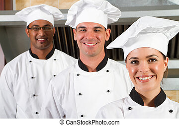 professionnel, youngl, groupe, chefs