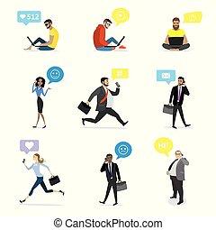 professionnels, à, intelligent, gadgets, et, bulle, parole