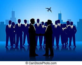 professionnels, équipe travail, homme affaires, spectacles