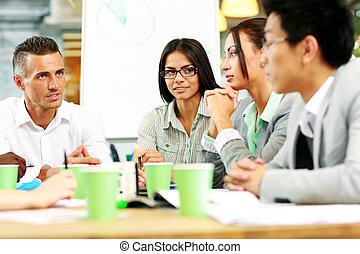 professionnels, avoir, réunion, autour de, table, dans,...